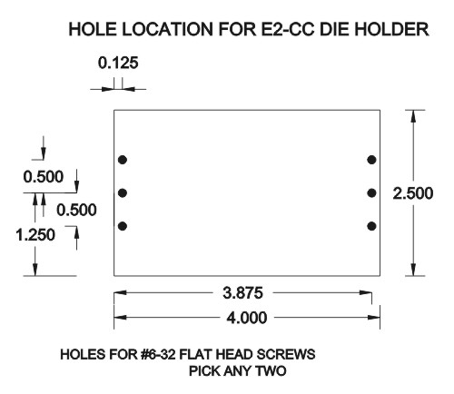 die holder, hole location for die holder, e2cc, e2-cc, e2cc die holder, e2-cc die holder, malahide, malahide by spartanics, spartanics, hot stamping, hot stamping press
